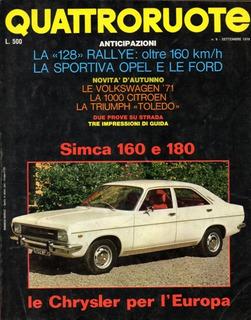 Quattroruote N°177 Set/1970 Simca 160 180 Triumph Toledo