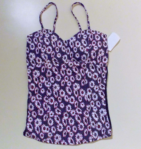 Crop Top Escote Corazon Con Push Up Flores Espalda Encaje