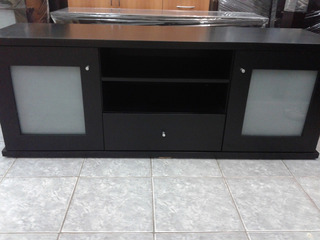 Mesas P/ Tv Y Lcd Lustre Wengue Chocolate-negro-blanco