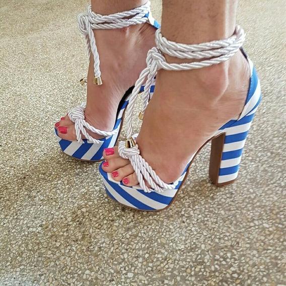Sapato Feminino Sandália Cordão Listras Azul Lançamento