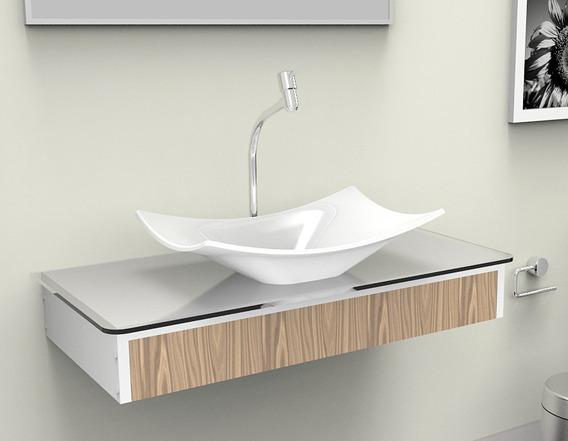 Bancada / Gabinete / Lavabo Banheiro Madri 80 Sem Espelho