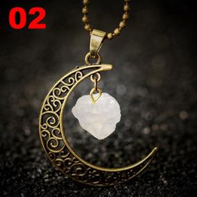 Colar Lua Nebulosa Ouro Velho Pedra Preciosa Ametista Branca