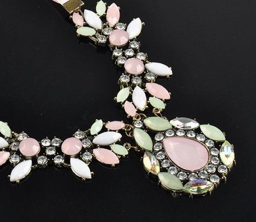 Hermoso Collar Maxi Grande Cristales Nuevo Importado