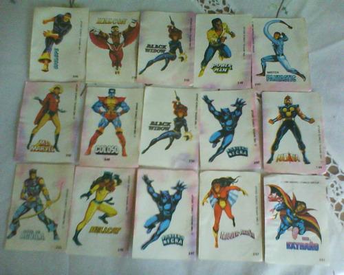 Lote X 15 Figuritas De Superheroes Marvell Dc.tm Años 80