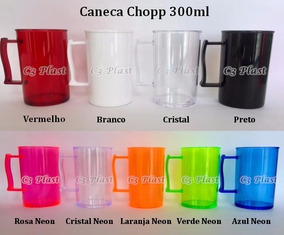 100 Caneca Chopp 300ml Acrilica - Resistente E Lindos!
