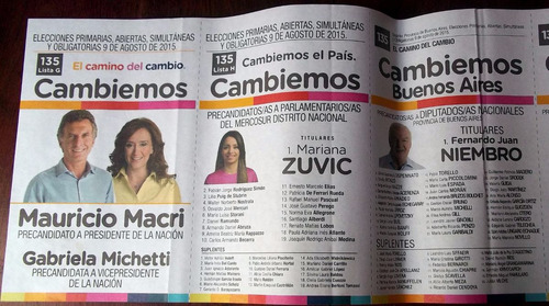 Boleta Elecciones Paso 2015 Cambiemos Macri En La Plata