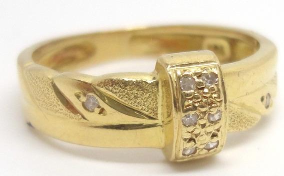 Anel Aparador Aliança E Diamantes Naturais Ouro 18k