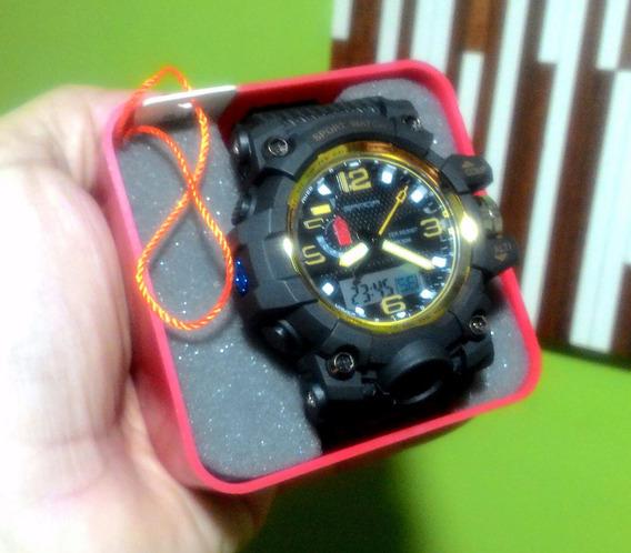 Relógio Masculino Ant Shock Digital Analogico Sanda732 Ouro