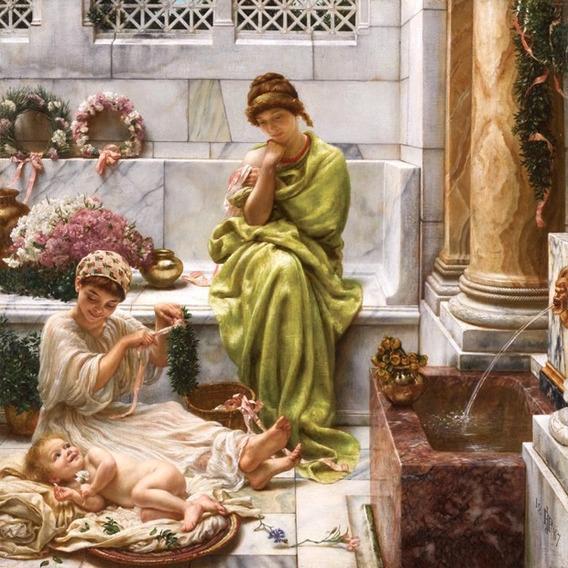 Mãe Criança Flores Palácio 1887 Pintor Poynter Tela Repro