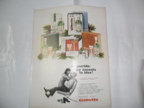 Locion Valet Gillette Maquina Frasco Envase Publicidad 1967