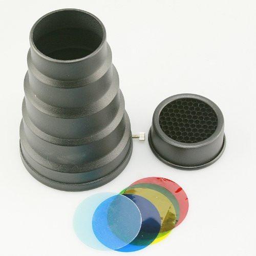 Snoot Cono Universal P/ Flash Estudio Metalico Con Geles Hm4