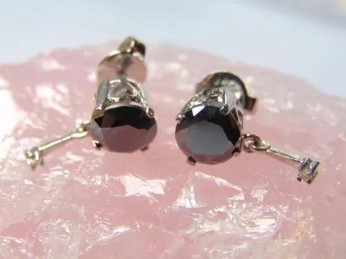 Brinco Prata 925 Diamantes Negros Brancos Naturais Promoção