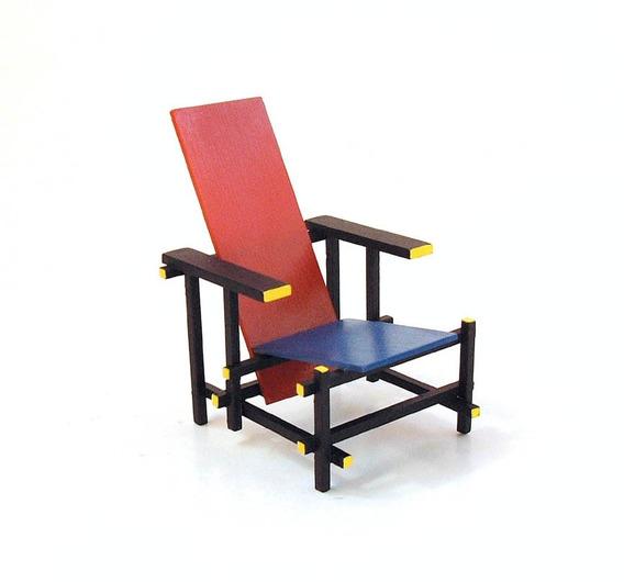 Miniatura Poltrona Red & Blue 1:12 Designer Gerrit Rietveld