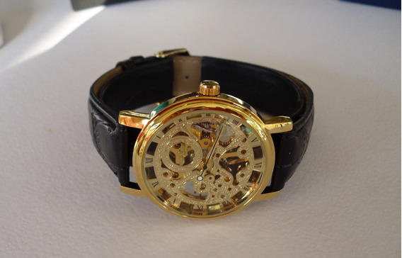 Elegante Reloj Skeleton Transparente Semiautomatic Importado