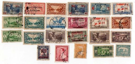 Antiguo Lote De 23 Estampillas - Libano Republique Libianese