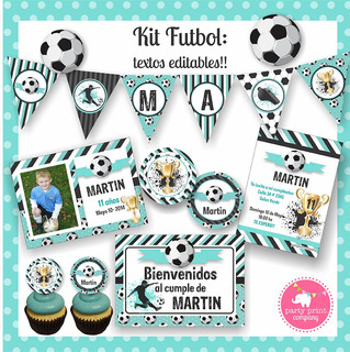 Kit Imprimible Futbol Cesles Y Negro