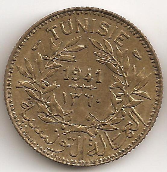 Tunez Frances, Franc, 1941. Il Guerra. Xf+