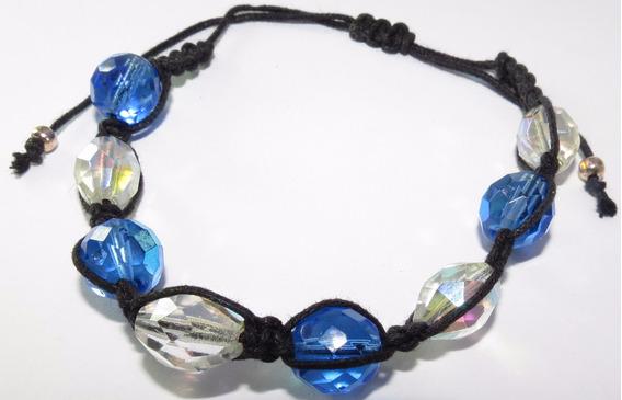 Pulseira Cordão Preto - Cristais Azul E Transparente