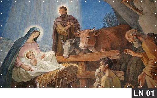 Imagem 1 de 6 de Natal Presépio Cristo Painel 3,00x1,78m Lona Festa Banner
