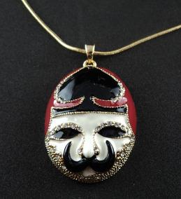 Gargantilha Banhada Em Ouro 18k Máscara Veneza