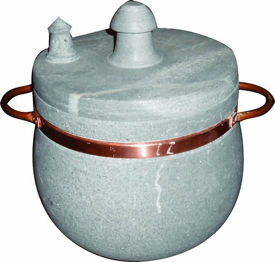 Panela De Pressão Em Pedra Sabão E Alça De Cobre 6,5 Litros