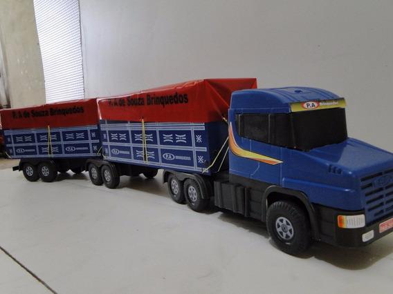 01 Bitrem Lona Miniatura Scania Sete Eixo Brinquedo Madeira