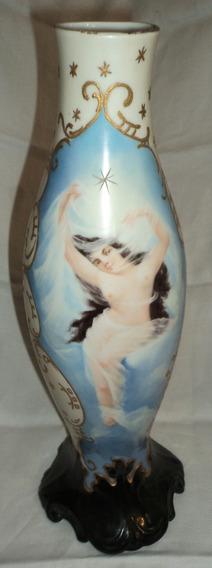 Antiguo Jarron Porcelana J P L Limoges Mujer Desnuda Florero