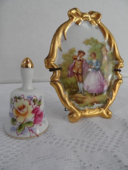 Lote De Pequeno Quadro Em Porcelana Limoges E Sineta Jap.