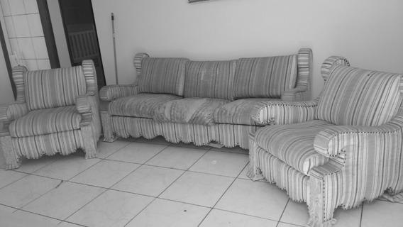 Sofá Antigo Madeira Impecável, Necessita De Reforma Tecido