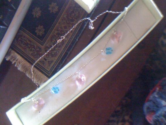 Cadena De Plata .925 Cristales De Colores