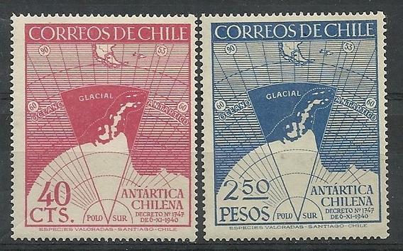 Serie De 2 Estampillas De Chile Año 1947 Antartida