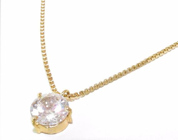 Colar + Pingente Cristal Folheado A Ouro 18k 0,9x0,9cm N1