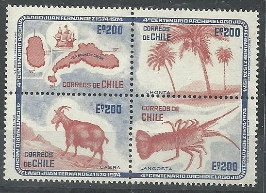 Serie De 4 Estampillas Chile Año 1974 Archipielago