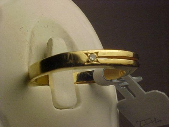 #277a - Anel Estilo Aliança Em Ouro 18k Com Diamante