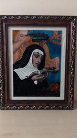 Quadro Em Pintura Vitral Santa Rita De Cássia