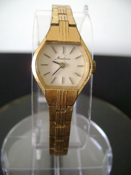 Relógio De Pulso Feminino Em Plaqué De Ouro Mondaine