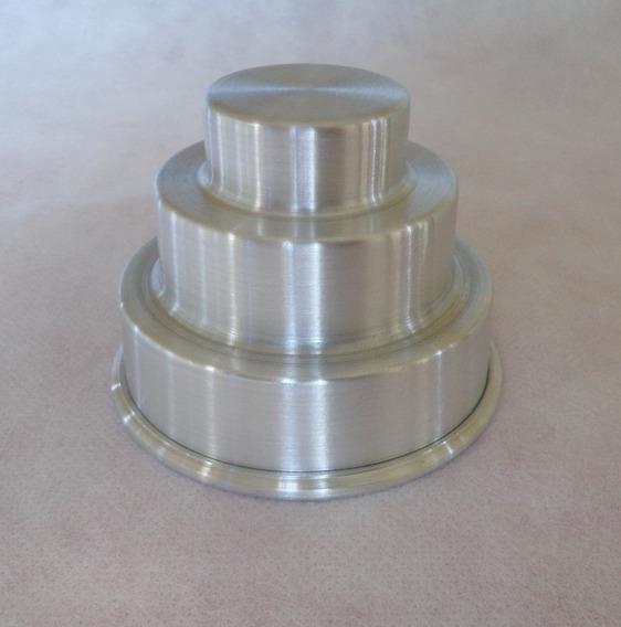 Forminha Mini Bolo Com 3 Andares Em Alumínio - Kit 12 Peças