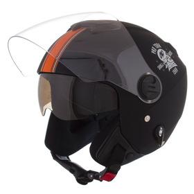 Capacete Aberto Protork New Atomic S. Riders Pto/laranja Fos