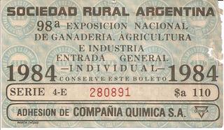 Entrada Exposicion Sociedad Rural Arg.1984 Vintage
