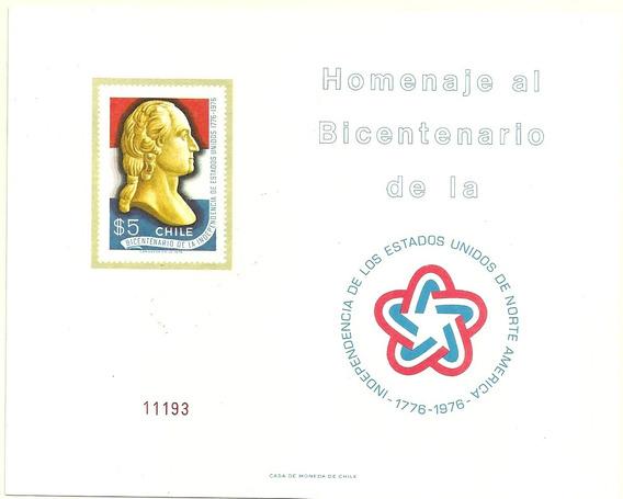 Block De Estampillas De Chile Año 1976 Independencia Eeuu