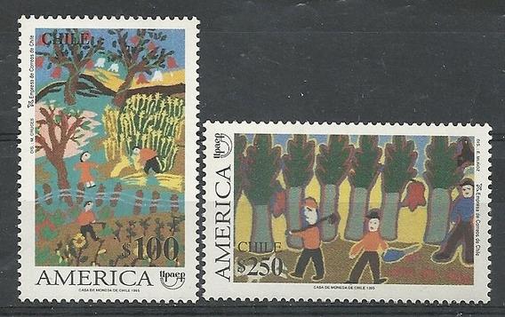 Serie De 2 Estampillas Chile Año 1995 Tema America Dibujos