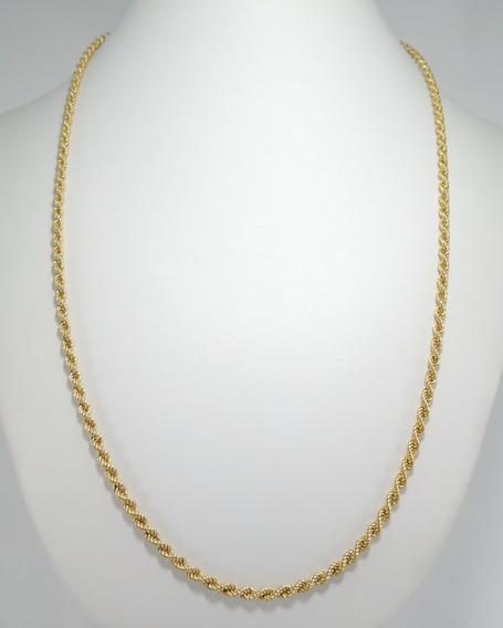 Corrente Masculina Corda 70 Cm Cordão Baiano Em Ouro 18k 750