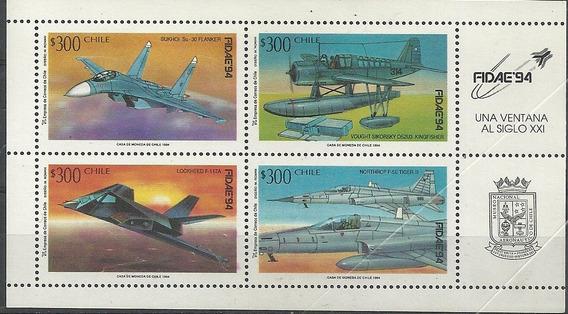 Block Con 4 Estampillas Chile Año 1994 Tema Aviones