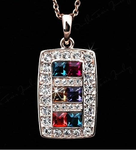 Exclusivo Collar Cristales Multicolor Con Estuche Nuevo