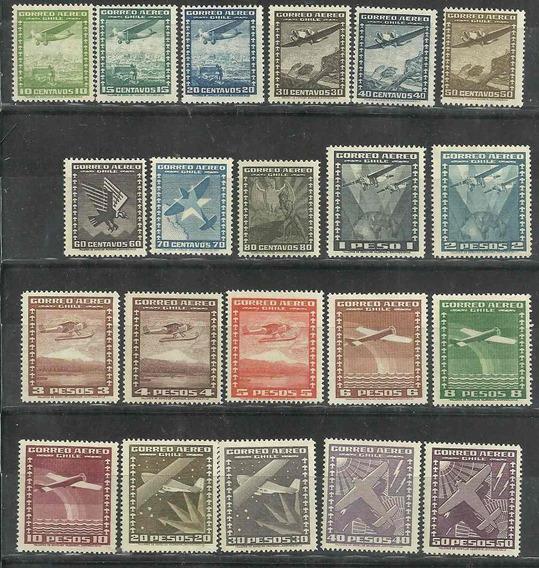 Serie De 21 Estampillas Chile Año 1934/38 Tema Aviones