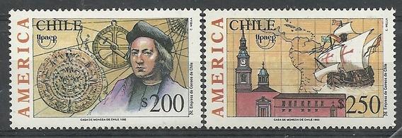 Serie De 2 Estampillas Chile Año 1992 Tema America