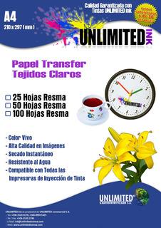 Papel Transfer Tejido Claro, 1 Hoja A4 Tintas Unlimited Ink