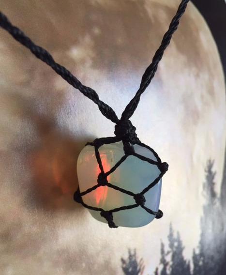 Colar Pedra Da Lua Opalina Hippie Castroada Macrame