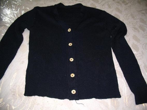 Saco Abierto Saquito Hilo Negro Sweater Pullover Mujer Boton