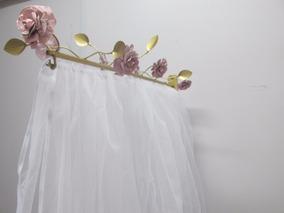 Dossel Reto Flores E Rosas - Suporte Com Para Mosquiteiro